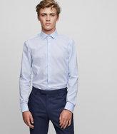 Reiss Reiss Preach - Slim-fit Textured Shirt In Blue, Mens