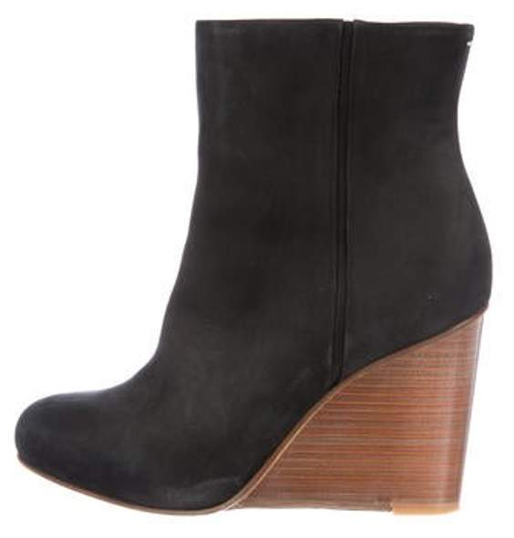 Maison Margiela Suede Wedge Boots Black Suede Wedge Boots
