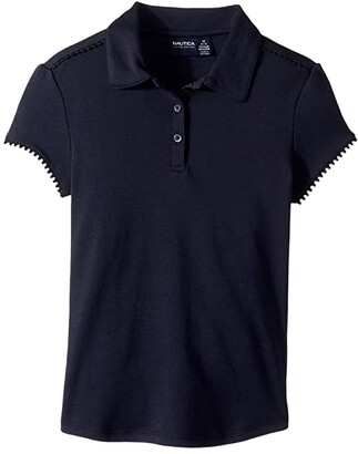 Nautica Short Sleeve Interlock Polo (Big Kids) (Su Navy) Girl's Clothing