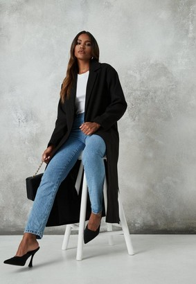 Missguided Black Side Split Formal Midaxi Coat