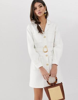Asos DESIGN denim utility shirt dress in white