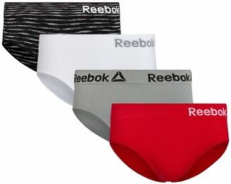 Reebok Women's Seamless Hipster Panties with Tag Free Elastic Waistband (4 Pack) - - Medium