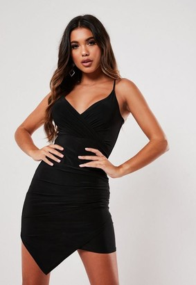 Missguided Black Slinky Strappy Wrap Cami Mini Dress