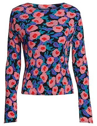 Issey Miyake Botanical Pleats Floral Top