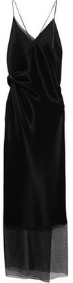 Roland Mouret Open-back Lace-paneled Plisse-jersey Gown