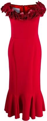 Marchesa floral applique flounce dress