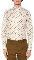 Lanvin Allover Spider-Print Long-Sleeve Shirt, White