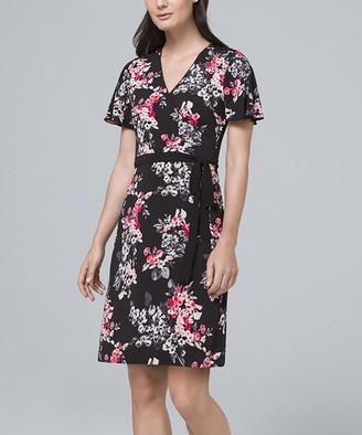 White House Black Market Women's Casual Dresses Black - Black & Cosmetic Floral Reversible Flutter-Sleeve Surplice Dress - Women