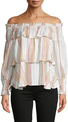 For The Republic Off-The-Shoulder Tiered Ruffle Top