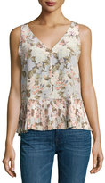 Rebecca Taylor Penelope Sleeveless Floral Silk Top with Pleated Hem, Multicolor
