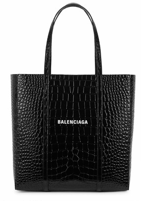 Balenciaga Everyday S black crocodile-effect leather tote