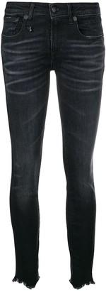 R 13 Distressed-Hem Skinny Jeans