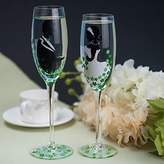 BST Weddings Reception BST Wedding Reception Color Hand-painted Toasting Flutes (Set of 2)- the Bride and Groom with Green Flower
