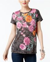 INC International Concepts Floral-Print Burnout T-Shirt, Created for Macy's