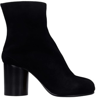 Maison Margiela Tabi High Heels Ankle Boots In Black Suede