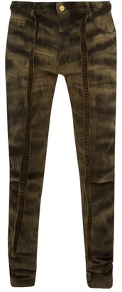 Fear Of God Zebra-print Slim Fit Denim Jeans - Black Brown