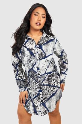 boohoo Plus Snake Oversized Shirt Dress