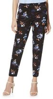 F&F Floral Print Ankle Grazer Mid Rise Slim Fit Trousers, Women's