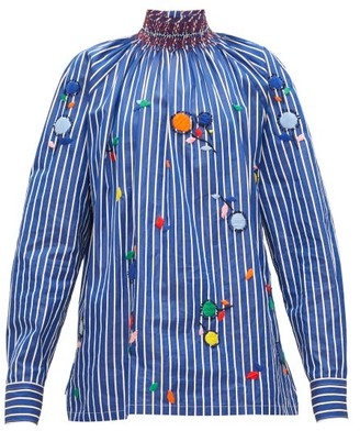 Prada High-neck Embroidered Cotton-poplin Blouse - Blue