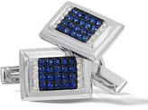 Effy Jewelry Effy Men's 14K White Gold Blue Sapphire and Diamond Cuff Links, 0.94 TCW