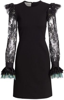 Gucci Compact Lace-Sleeve Jersey A-Line Dress