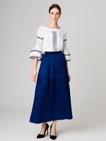 Oscar de la Renta Pleated Silk-Taffeta Skirt