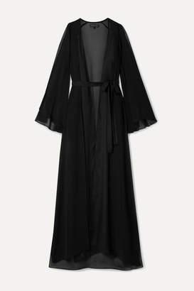 Marika Vera Valentina Satin-trimmed Cold-shoulder Chiffon Robe - Black
