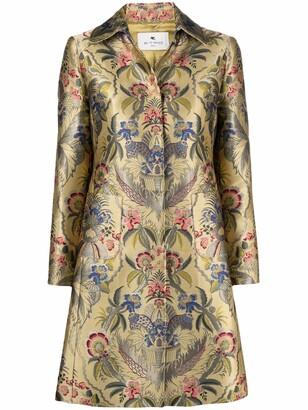 Etro Floral Jacquard Single-Breasted Coat