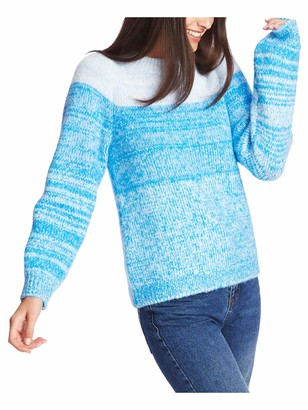 1 STATE Womens Blue Textured Color Block Long Sleeve Jewel Neck Sweater Size: XS