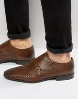 Asos Monk Shoes In Brown Leather With Woven Detail