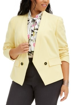 Bar III Trendy Plus Size Open-Front Jacket, Created for Macy's