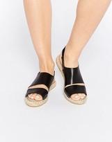 Pieces Jade Black Leather Espadrille Flat Sandals