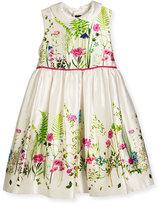 Oscar de la Renta Sleeveless Collared Botanical Flora Mikado Dress, Multicolor, Size 3-8