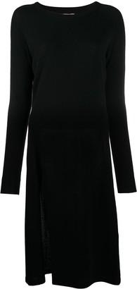 Laneus Split-Hem Long Sleeved Knit Dress
