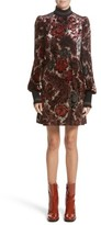 Marc Jacobs Women's Floral Velvet Mock Neck Dress