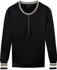 Maison Scotch Sport Shiny Long Sleeve Top - M / 08 - Black - Black/White