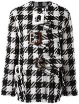 Dolce & Gabbana checked boxy coat - women - Cotton/Polyamide/Spandex/Elastane/Virgin Wool - 40