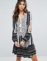 Somedays Lovin Nightcall Festival Tiered Tunic Dress With Sleeve Detail
