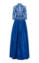Naeem Khan Long Sleeve Silk Embroidered Gown