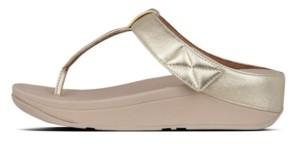 FitFlop Women's Mina Leather Toe-Thongs Sandal Women's Shoes