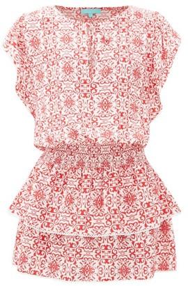 Melissa Odabash Keri Tiered Tile-print Crepe Mini Dress - Red Print