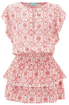 Melissa Odabash Keri Tiered Tile-print Crepe Mini Dress - Womens - Red Print