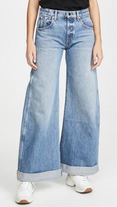 KHAITE Noelle 5 Pocket Wide Leg Rolled Jeans