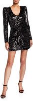Parker Black Virginia Tiger Sequin Long-Sleeve Mini Dress