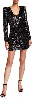 Parker Black Virginia Tiger Sequin Long-Sleeve Mini Dress