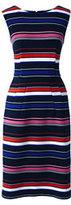 Lands' End Women's Tall Sleeveless Ponté Sheath Dress-Aurora Pink Multi Stripe