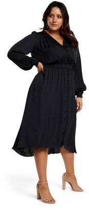 Forever New Curve Eva Satin Shirred Waist Curve Dress
