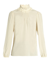 RED Valentino Ruffled-neck silk blouse