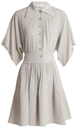 Chloé Point-collar Silk Shirtdress - Womens - Light Grey
