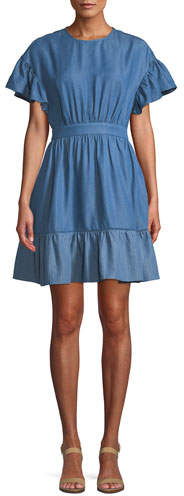 Kate Spade Chambray Dress With Flutter Sleeves